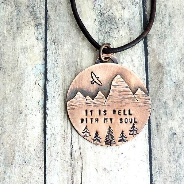 Mountain Landscape Necklace - It Is Well With My Soul - Christian Necklace