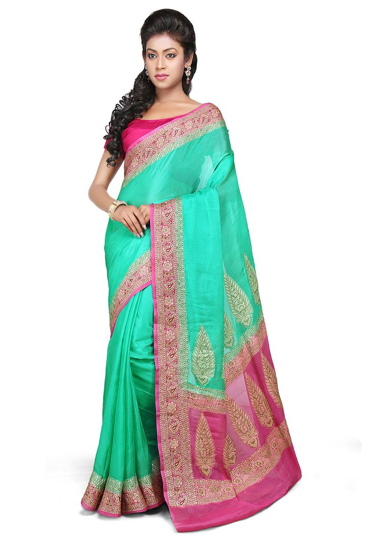 Woven Pure Georgette Saree in Green : SHR420