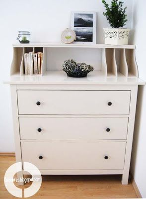 West Furniture Revival - Ikea magazine holders and shelf on dresser - great idea