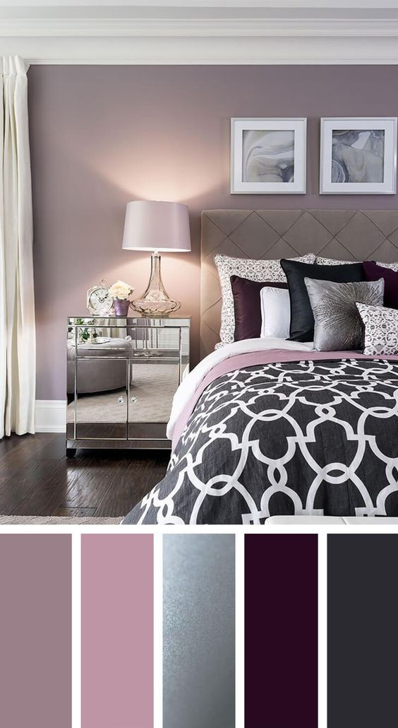 Elegant Silver Plum And Lavender Palette Chambre à Coucher In 2019 Home Decor Bedroom Color Schemes Colors