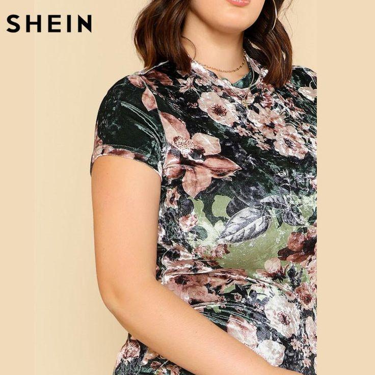 SHEIN Velvet Floral Plus Size Dresses Multicolor Sheath Party Elegant Fashions Women Large Sizes Flower Print Pencil Dress