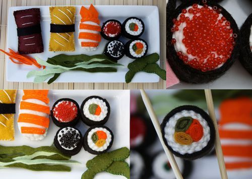 "We are serving a handmade Felt ""Sushi Platter"". We have Nori Rolls with Avocado and Carrots some are even topped with Roe! We are also serving Nigiri, Toro, Seaweed, Edamame, and Ginger. To make this platter I used wool felt, beads, and embroidery floss. This DIY tutorial will teach you how to make Sushi Rolls, Edamame, Nigiri, and Toro."