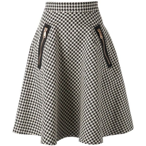 Coast+Weber+Ahaus Full Midi Houndstooth Skirt found on Polyvore