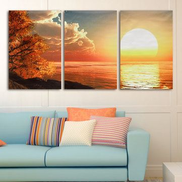 Unframed Day Sunset Scene Canvas Painting Decorative Wall Picture Home Decor