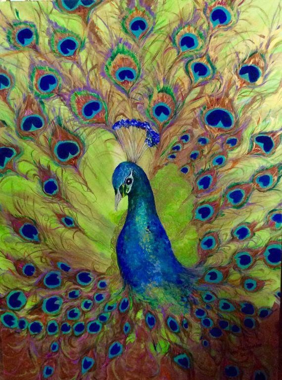 peacock metallic iridescent original acrylic painting 36