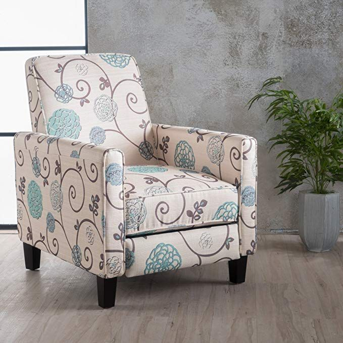Great Deal Furniture Dufour White And Blue Fl Fabric Recliner Review