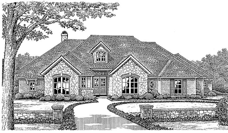 French Country House Plan with 2352 Square Feet and 4 Bedrooms from Dream Home Source | House Plan Code DHSW49313