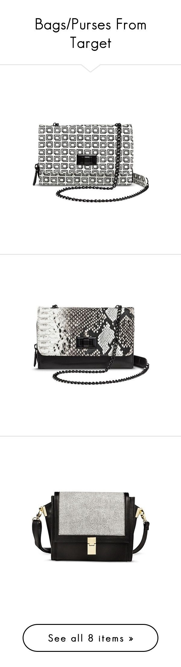 """""""Bags/Purses From Target"""" by lanaebond ❤ liked on Polyvore featuring bags, handbags, shoulder bags, crossbody handbags, black crossbody purse, crossbody purse, python handbag, mossimo purse, clutches and black"""