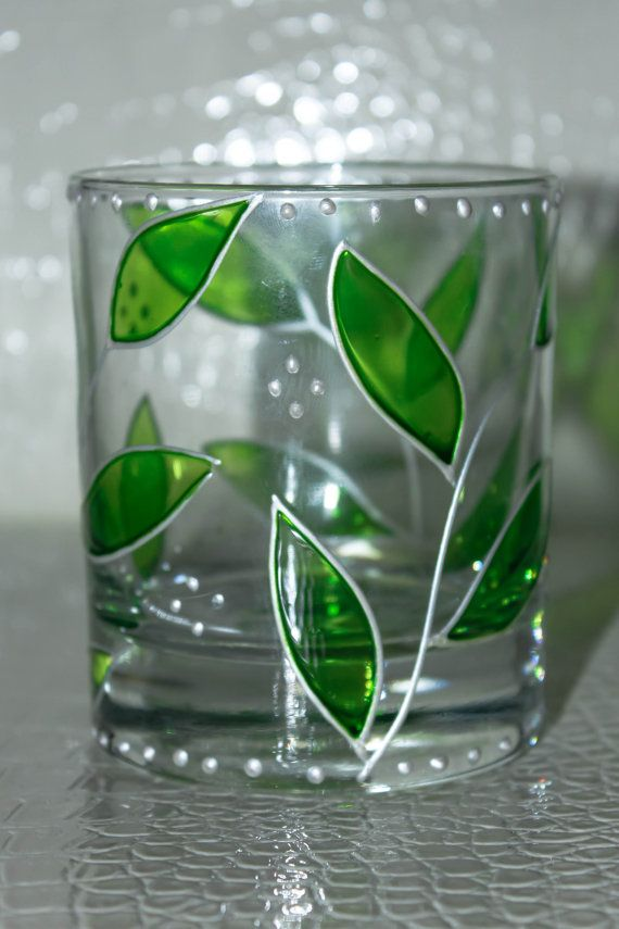 Hand Painted Glass  Candle holder Flower Pot