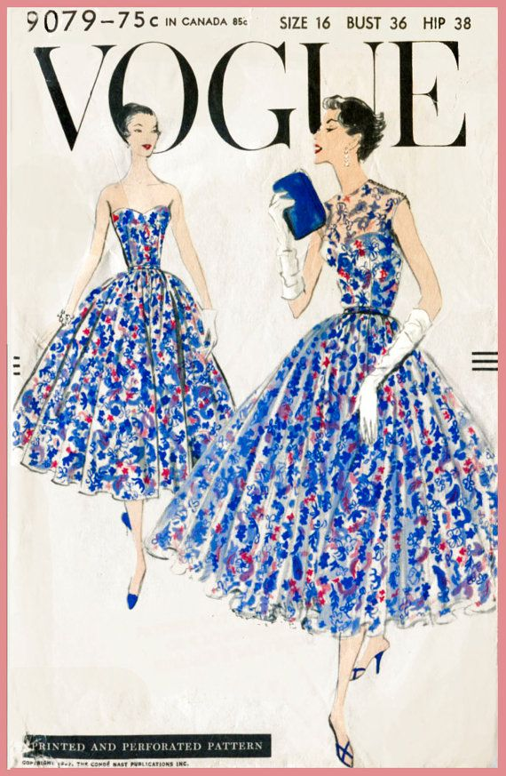 Vogue 9079 Elegant 1950s women's sewing pattern for a ball gown. Four gored gathered skirt of dress joins bare top bodice at waistline. Wide, all around