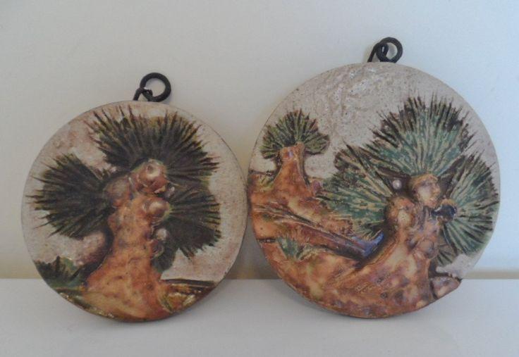 Pair of West German Ceramic 'Trees' Wall Tiles, Fat Lava Era. by WoodstockStudio on Etsy