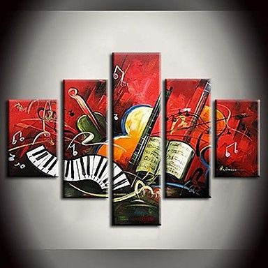 現代アートなモダン キャンバスアート 絵 壁 壁掛け 油絵の特大抽象画5枚で1セット 楽器 楽譜 バイオリン ギター レッド エレキ キーボード 【納期】お取り寄せ2~3週間前後で発送予定【送料無料】ポイント