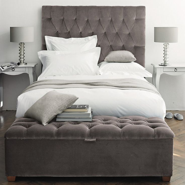 The dove gray tufted velvet headboard of my dreams...