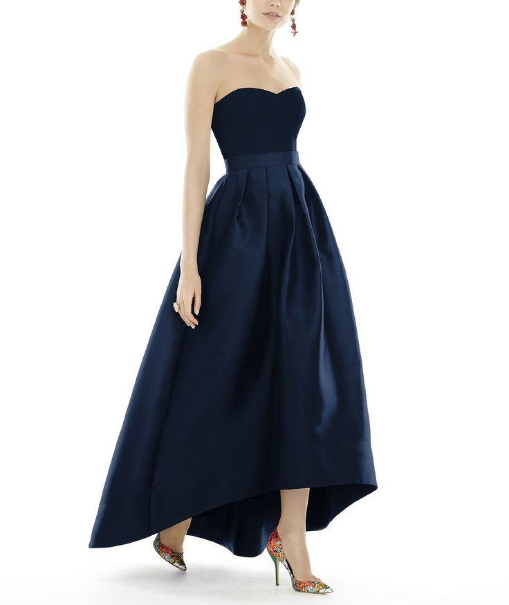 DescriptionAlfred Sung Style D699Fulllength bridesmaid dressSweetheart necklineMatching belt at natural waistHi-low hemlinePleated Aline skirtPocketsSateen Twill