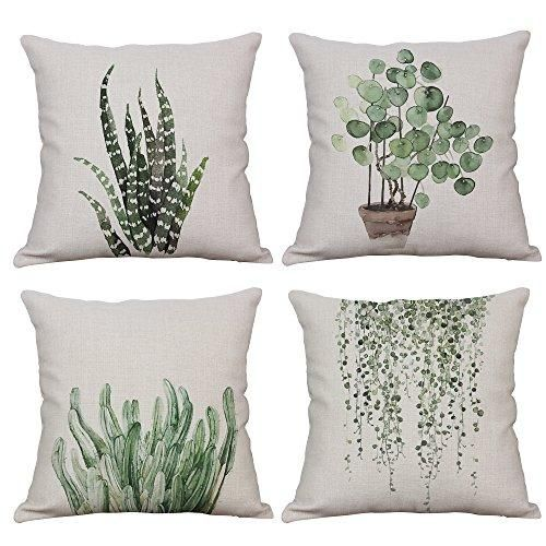Green Plant Decorative Pillow Covers Cotton Linen 18x18 Inch