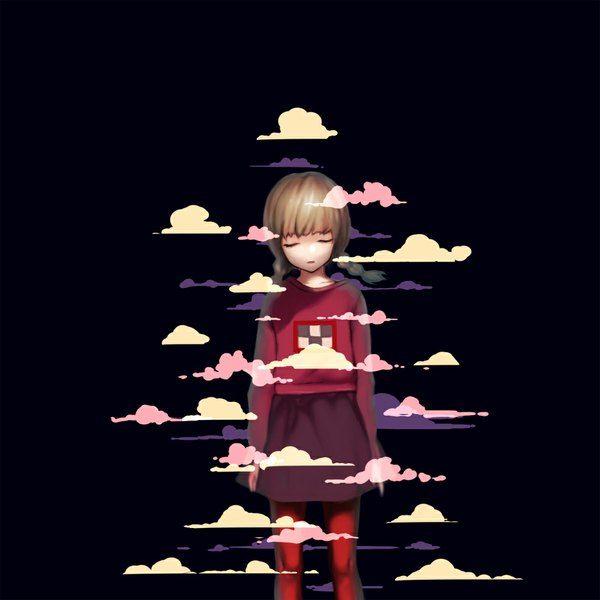 Anime picture 1000x1000 with  yume nikki madotsuki hag (pixiv) long hair single open mouth blonde hair fringe cloud (clouds) eyes closed braid (braids) twin braids black girl skirt pantyhose sweater
