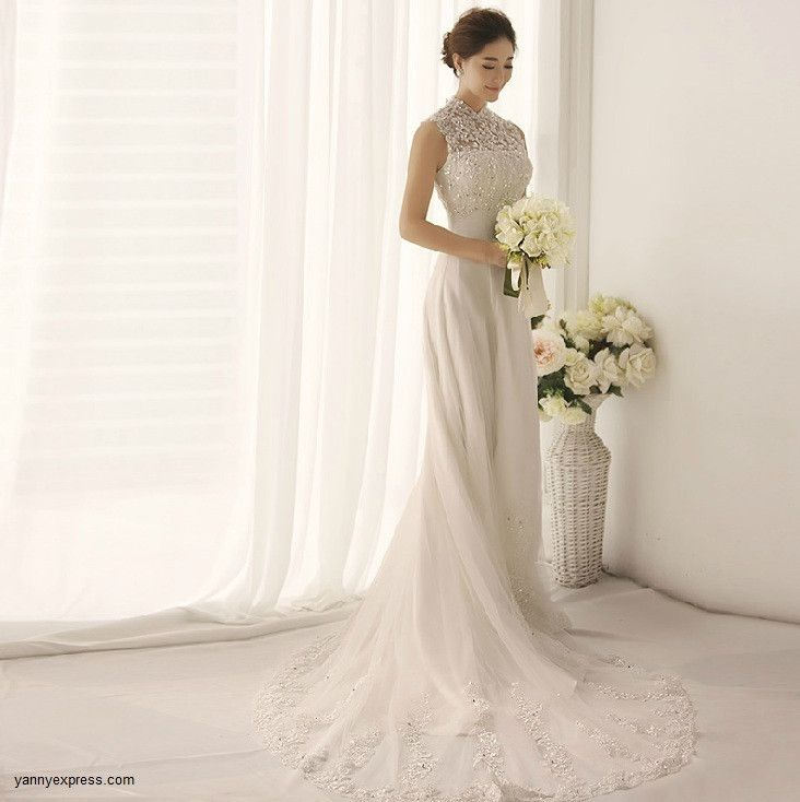 Awesome RP Chinese Wedding Gown Lace Modern Bridal Qipao Sweep Train