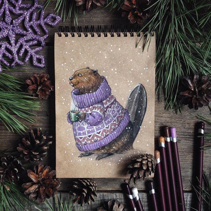 Романтичный бобр желает вам доброго дня.  Немного странно, но меня засыпали вопросами, как купить блокнот со зверьком в свитере. Может рисунок зверушки с кружкой похож на обложку, но нет - блокнотов с такими обложками, к сожалению, нет. Это мой блокнот, каждый зверек - это страничка, в блокноте рисую и никому его не отдам  #drawing #character #winter #december #letitsnow #snow #teatime #art #myart #sketchbook #pencils #colorpencils #Instagraminrussia #instagramrussia #beaver…