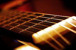 Instrument de musique, guitare, corde, profondeur de champ
