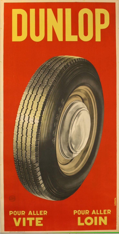 Vintage Dunlop Tyres Advert,  1950s - original vintage poster by Leruth.
