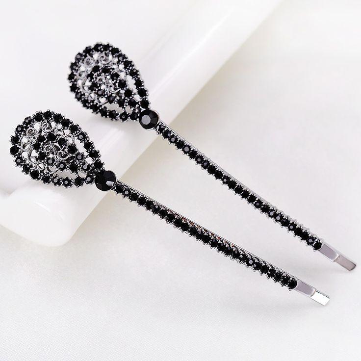 Винтажный стиль пистолет черный кристалл волос ювелирные изделия полые женщин заколки для волос свадебные аксессуары для волос волосы палку продвижение завод