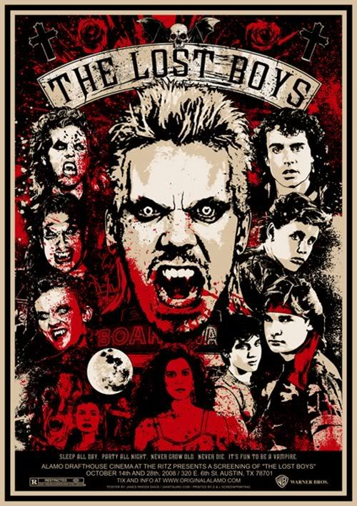 The Lost Boys (1987) <3 this poster: 'Poster created by James Davis as promotional artwork for a public screening of The Lost Boys at the Alamo Drafthouse in 2008' #movieposters #likes