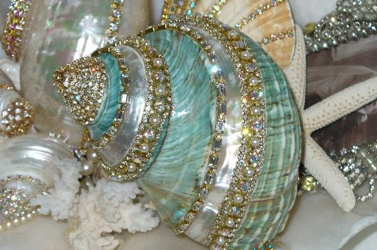 Beach Cottage Shimmer Collection Aqua Bejeweled Seashell 2-shabby, shells, rhinestones, bling, sea, cottage, aqua, beach,