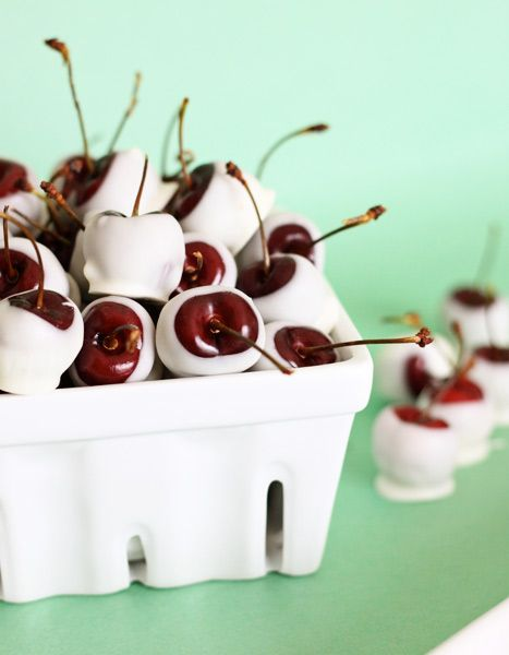 amaretto-soaked white chocolate cherries--Sounds heavenly!
