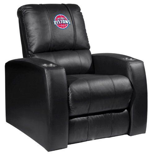 Home Theater Recliner with Detroit Pistons Logo  http://allstarsportsfan.com/product/home-theater-recliner-with-detroit-pistons-logo/  Top grain leather in all touch areas Fully recline only inches from the wall Stainless steel cupholders