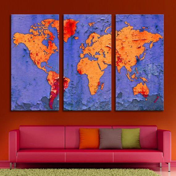 13 best world maps for home office decor images on pinterest 3 panel triptych world map canvas print with digital flake effect blue red and orange colors art for wall decor interior design gumiabroncs Image collections