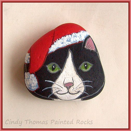 The Cat in the Santa Hat painted rock