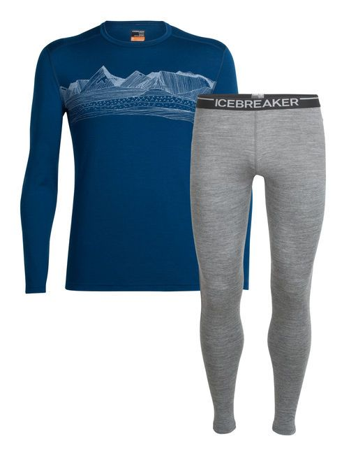 Icebreaker Men's Next to Skin set - Featuring the Oasis Long sleeve crew and Oasis leggings: Natural performance wear designed by nature as your primary next next-to to-skin layer, providing comfort and all-day protection. Made for what moves you. $190 for both pieces. $100 for crew, $90 for leggings