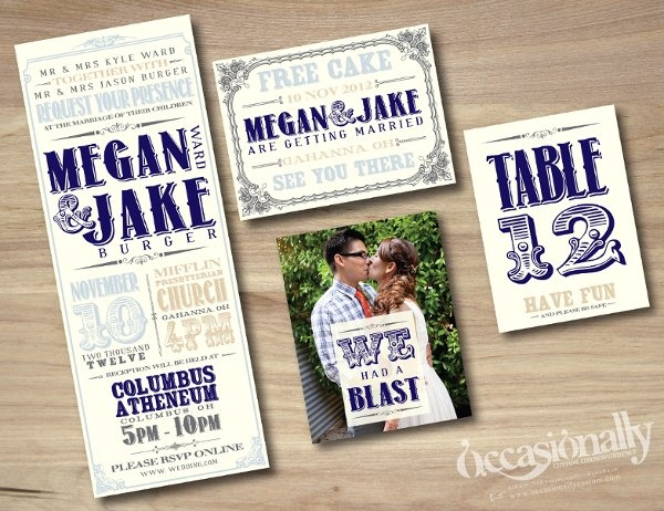 Vintage Concert Poster Inspired Wedding Invitations in Navy, Light Blue & Beige; Save the Date Postcard, Photo Thank You Card, Table Number