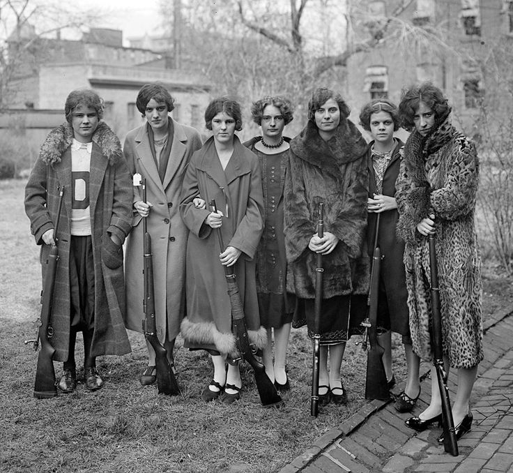 Well-dressed and well-armed, these ladies were members of Drexel Institute's girls rifle club (taken in Washington, DC). 1925