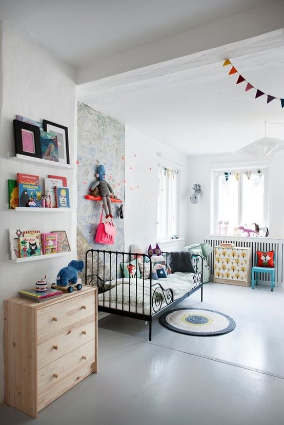 Contemporary kids room     perfection.  that bed and the book shelf hanging pendent....  love it all.