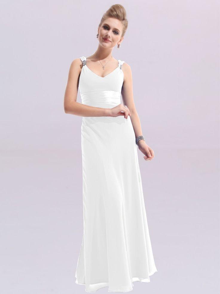 Bílé jednoduché svatební šaty