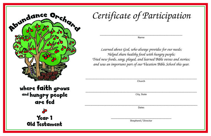 Certificate of Participation - Year 1 (Old Testament); print 2/sheet on letter-size card stock.