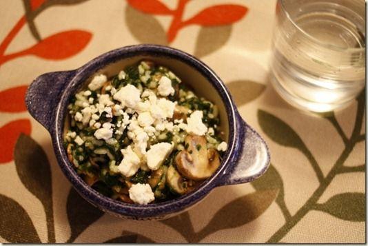 arborio rice w/ mushrooms, spinach, and feta