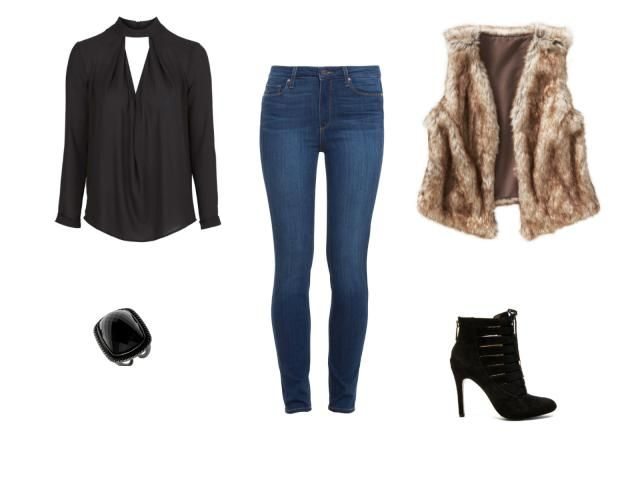 Holiday Party Style - Cocktail Party Outfit - Faux Fur Vest and Skinny Jeans With Ankle Boots