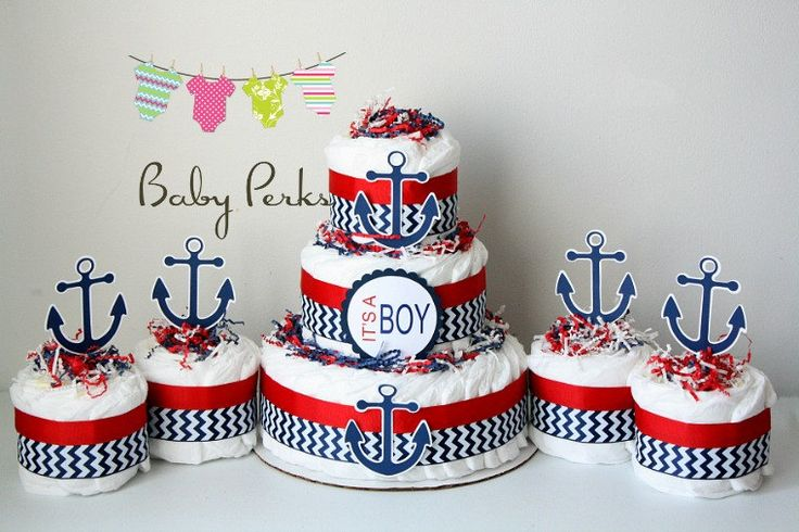 Nautical Diaper Cake, Nautical Baby Shower , Sailboat Theme, Baby Shower Decorations, Nautical Mini Diaper cakes by MsPerks on Etsy