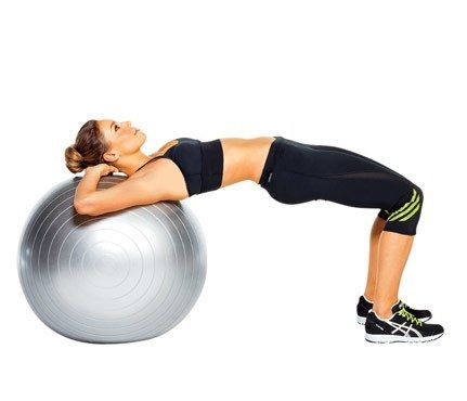 Works: butt, hamstrings Sit on ball and walk feet out until shoulders rest on top of it, lift hips (as shown). Slowly lower hips to hover just above floor. Return to start for 1 rep. Do 12 reps.