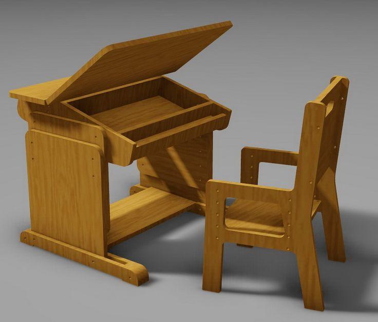 Подрастающая детская парта и стульчик из фанеры