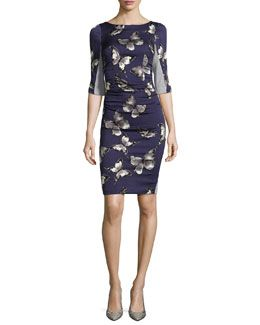 T9APM Tracy Reese T Elbow-Sleeve Dress W/ Butterfly Print