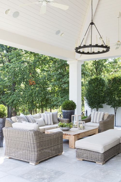 This is a wonderful example of using wonderful outdoor furniture and having it function as it would in an indoor manor. This is a wonderful and comfortable conversation area for guests.