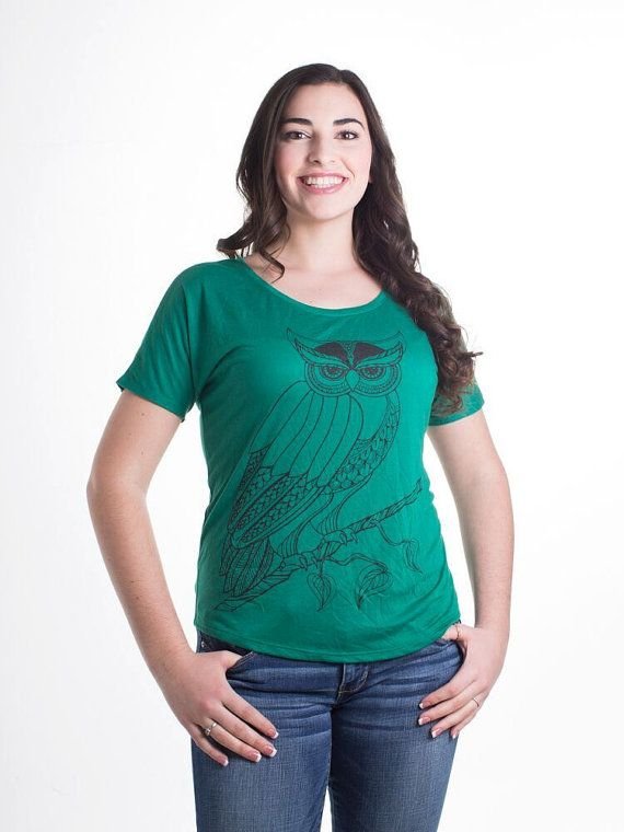 Women's Kelly Green Owl Shirt Small Green by KayaJacobClothing