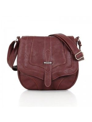 LADIES #FASHION RED #BROWN LEATHER #CROSSBODY BAG #PrettyStyle