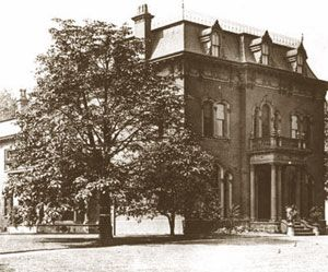John D. Rockefeller, Cleveland's wealthiest citizen, purchased this home on the south side of Euclid Avenue & East 40th streets in 1868. Some 11 years later, 1879 Rockefeller purchased a mansion next door to him, moved it around the corner so that he now had a country estate of over 2 acres to enjoy. Rockefeller had in his will that the family home was to be torn down upon his death. The land was then sold & turned into a parking lot & a gas station, not one of Standard Oil's.