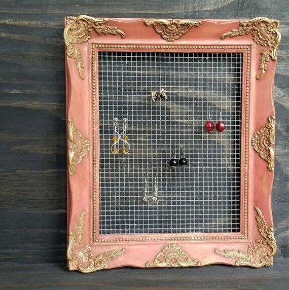 Beautiful Earing Holder Repurposed Frame   Jewelry Display   Wire Screen Earrings Holder