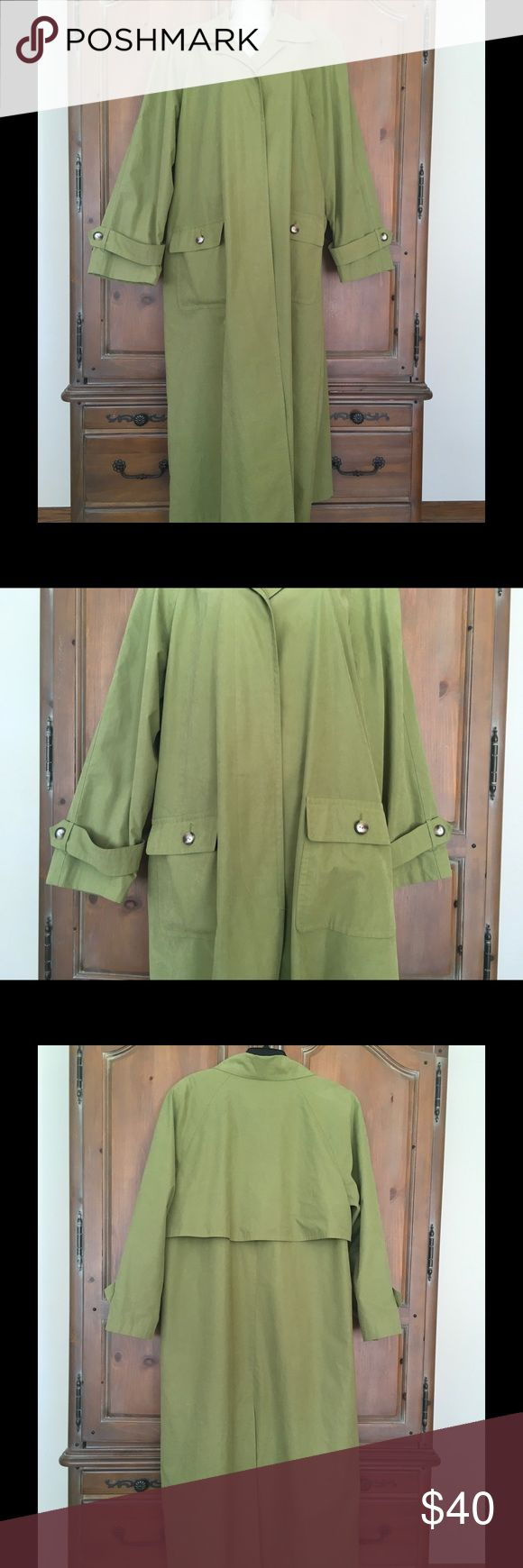 """Gallery Cotton Blend Easter/Spring Trench Coat Gorgeous pea green color. Hidden front buttons; rear kick pleat; 2 front button pockets; fully lined. 70% cotton; 20% polyester; 10% nylon. Flat measurements: Armpit to armpit: 25""""; sleeve length from armpit: 18""""; Length: 53"""". Beautiful coat in pristine nearly new condition! Gallery Jackets & Coats Trench Coats"""