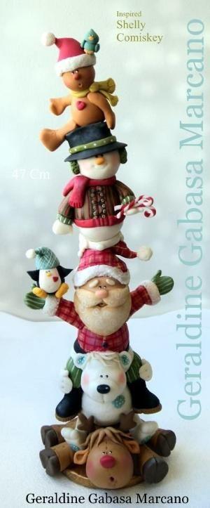Navidad totem porcelana fria polymer clay by mammieof16